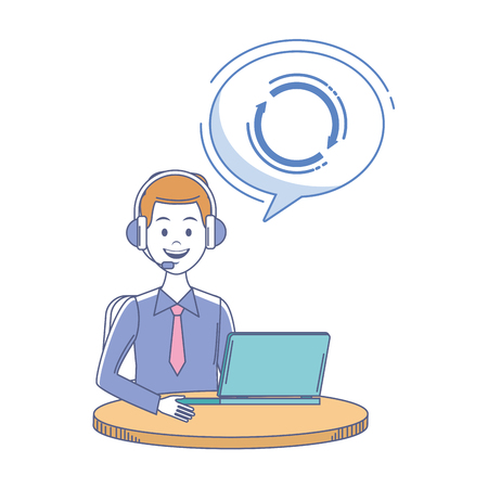 costumer services assistant man with headset and computer vector illustration graphic design