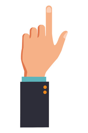hand pointing out with suit colorful in white background vector illustration graphic design Banque d'images - 127133077