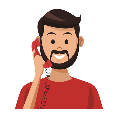 costumer support services man with telephone colorful in white background vector illustration graphic design