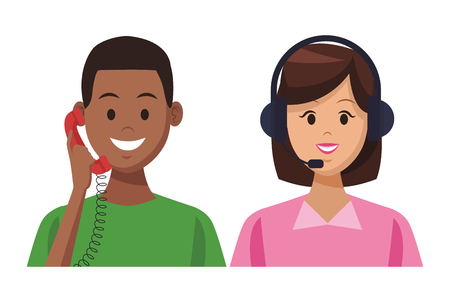 costumer support services afroamerican with telephone and assistant colorful in white background vector illustration graphic design