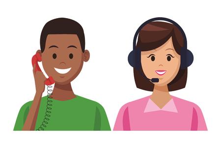 Servicios de apoyo al cliente afroamericano con teléfono y asistente colorido en fondo blanco ilustración vectorial diseño gráfico