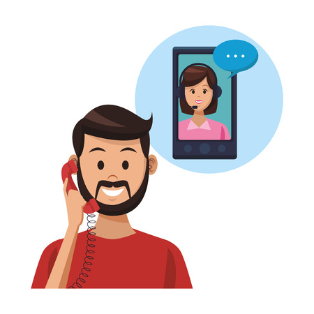costumer support services man with telephone smartphone with assistant colorful in white background vector illustration graphic design