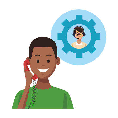 costumer support services afroamerican with telephone gear and assistant colorful in white background vector illustration graphic design