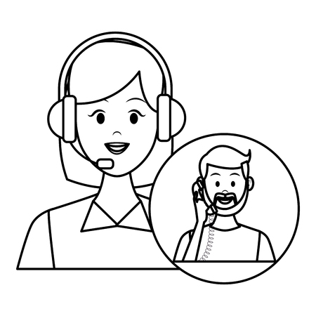assistance costumer service with headphone and client with telephone in round icon drawing in white background vector illustration graphic design