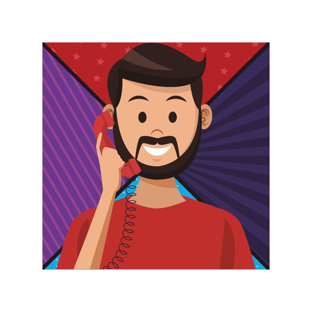 costumer support services man with telephone colorful background vector illustration graphic design Illustration