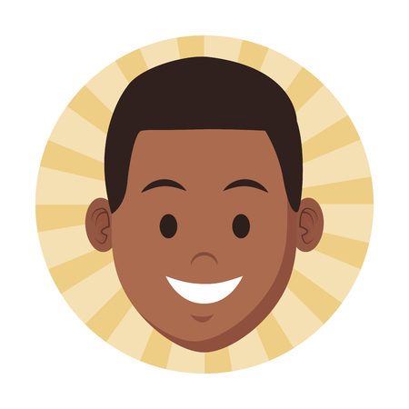 costumer support services afroamerican only face round icon vector illustration graphic design