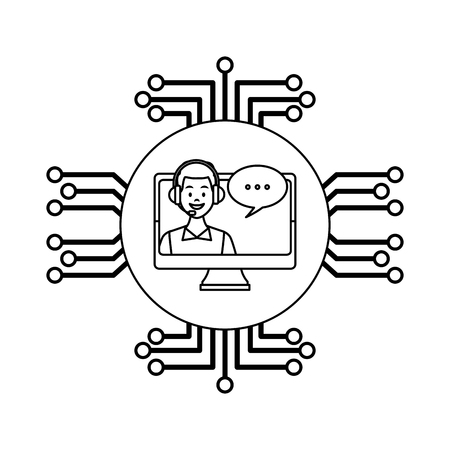 costumer services assistant man with headset in computer with speech bubble with electronic circuit drawing in white background vector illustration graphic design