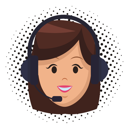 costumer support services woman with headset only face colorful vector illustration graphic design