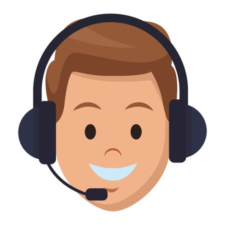 costumer services assistant man with headset only face colorful in white background vector illustration graphic design Векторная Иллюстрация