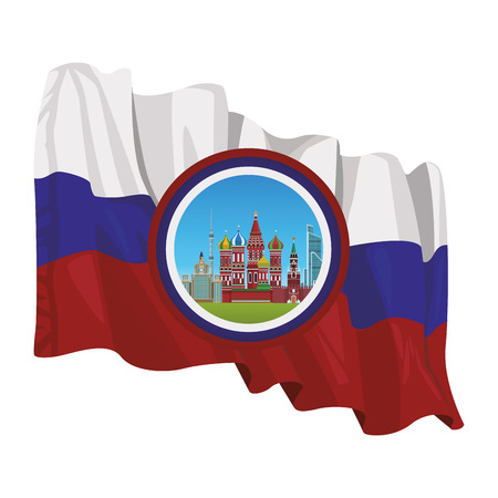 russian relevant buildings saint basil naberezhnaya spasskaya lomonosov university ostankino round icon with flag vector illustration graphic design Illustration