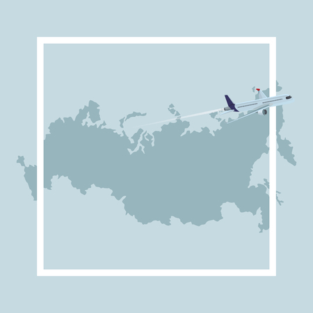 russian map icon with airplane vector illustration graphic design