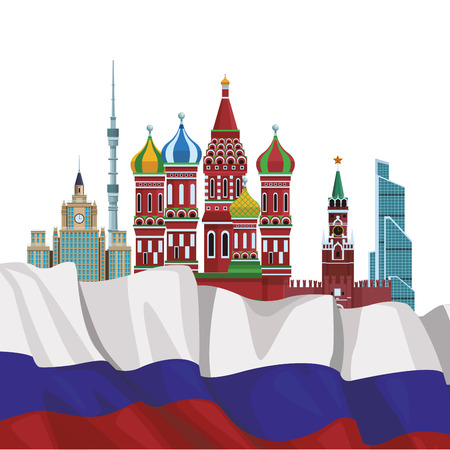 russian relevant buildings saint basil naberezhnaya spasskaya lomonosov university ostankino iver russian flag vector illustration graphic design