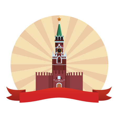 spasskaya tower icon round russian buildings vector illustration graphic design