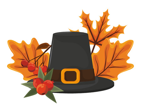thanksgiving day pilgrim hat with autumn leaves and plums in white background vector illustration graphic design Illustration