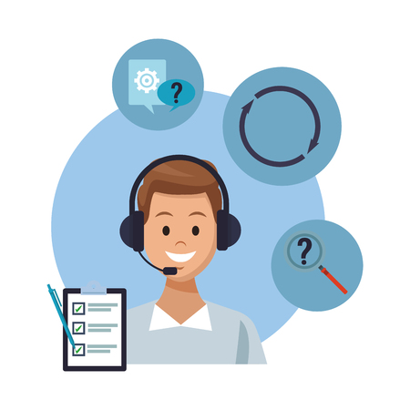 costumer services assistant man with headset portrait assitance tool speech bubble magnifying glass vector illustration graphic design  イラスト・ベクター素材