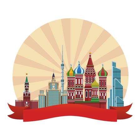 russian relevant buildings saint basil naberezhnaya spasskaya lomonosov university ostankino round icon vector illustration graphic design
