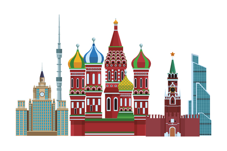 russian relevant buildings saint basil naberezhnaya spasskaya lomonosov university ostankino in white background vector illustration graphic design