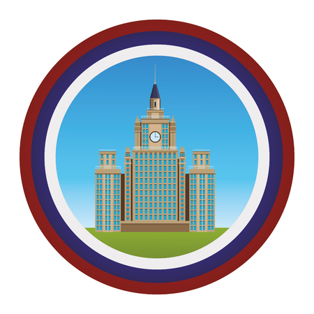 moscow state university icon round vector illustration graphic design