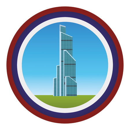 russian international trade center round icon with flag colour vector illustration graphic design Illustration