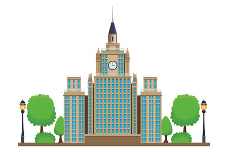 moscow state university icon with trees in white background vector illustration graphic design