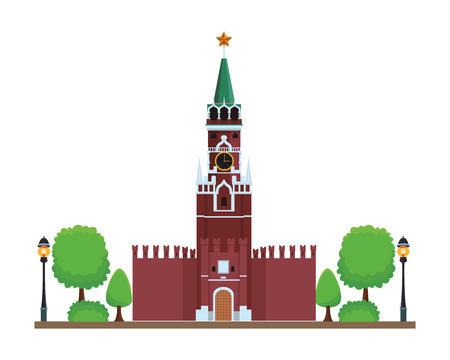 spasskaya tower icon with trees in white background vector illustration graphic design