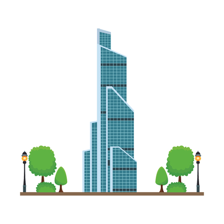 russian international trade center with trees in white background vector illustration graphic design Illustration
