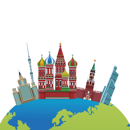 russian relevant buildings saint basil naberezhnaya spasskaya lomonosov university ostankino with globe vector illustration graphic design