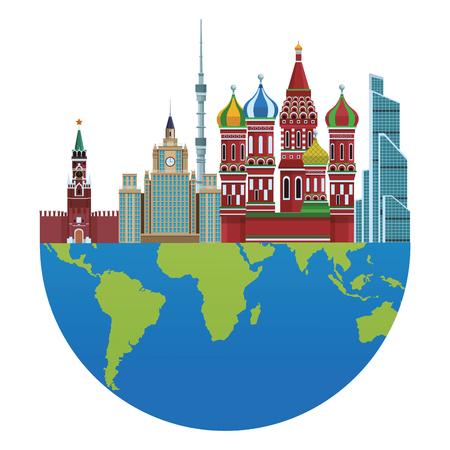 russian relevant buildings saint basil naberezhnaya spasskaya lomonosov university ostankino with globe vector illustration graphic design