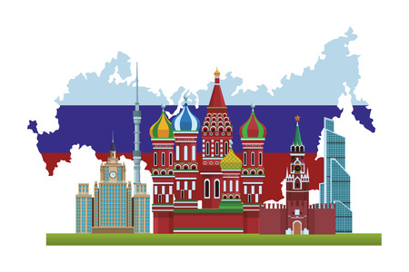russian relevant buildings saint basil naberezhnaya spasskaya lomonosov university ostankino with map and flag vector illustration graphic design