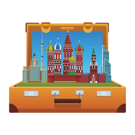russian relevant buildings saint basil naberezhnaya spasskaya lomonosov university ostankino in briefcase vector illustration graphic design Illustration
