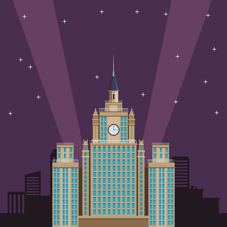 moscow state university icon at night vector illustration graphic design
