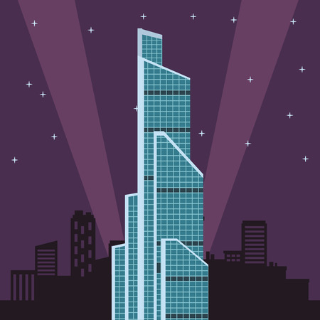 russian international trade center at night vector illustration graphic design Ilustração