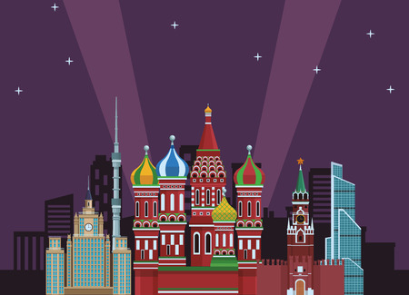 russian relevant buildings saint basil naberezhnaya spasskaya lomonosov university ostankino at night vector illustration graphic design