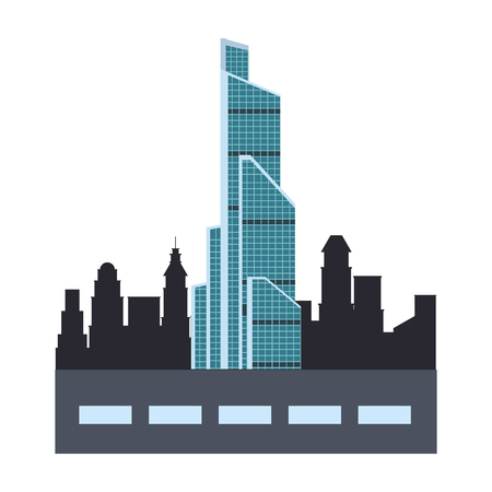 russian international trade center with street and city silhouette vector illustration graphic design