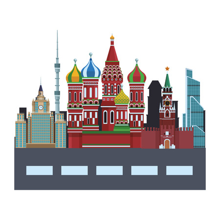 russian relevant buildings saint basil naberezhnaya spasskaya lomonosov university ostankino with street vector illustration graphic design