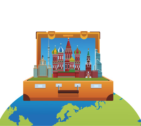 russian relevant buildings saint basil naberezhnaya spasskaya lomonosov university ostankino in briefcase and globe vector illustration graphic design Illustration