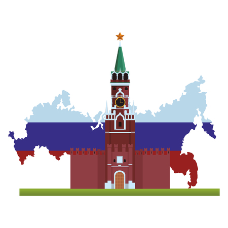 spasskaya tower icon rusia map and flag vector illustration graphic design