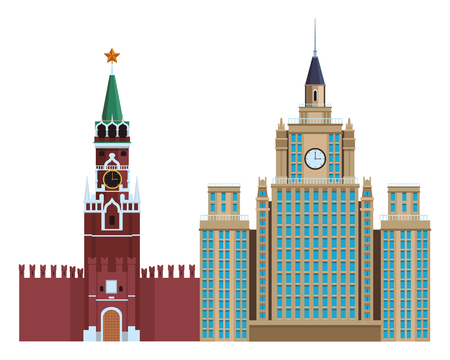 spasskaya tower icon and the moscow state university in white background vector illustration graphic design