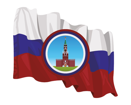spasskaya tower icon round and russian flag vector illustration graphic design Illustration