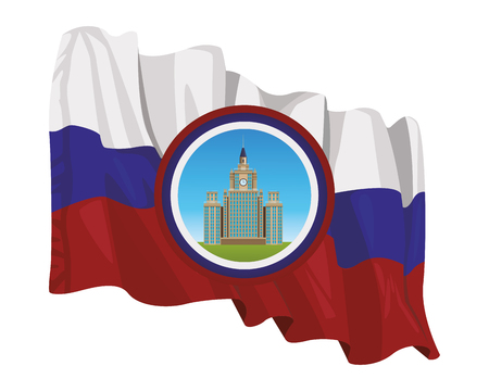 moscow state university icon round with russian flag in white background vector illustration graphic design Illustration
