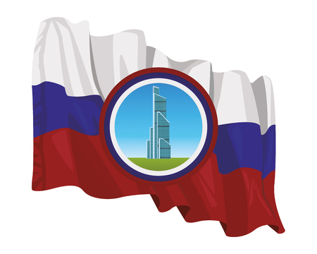 russian international trade center with round icon and russian flag vector illustration graphic design