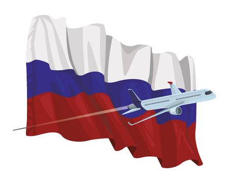 russian flag icon with airplane in white background vector illustration graphic design