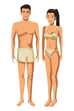 coppia in biancheria intima corpo pieno in sfondo bianco illustrazione vettoriale graphic design Vettoriali