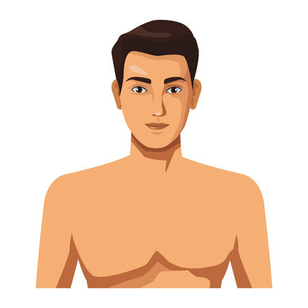 man naked half body in white background vector illustration graphic design
