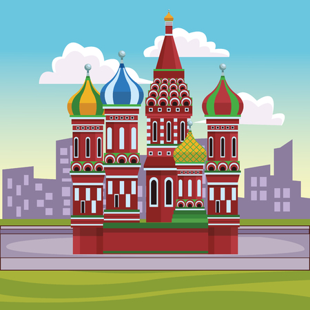 St. basil's cathedral with cityscape vector illustration graphic design