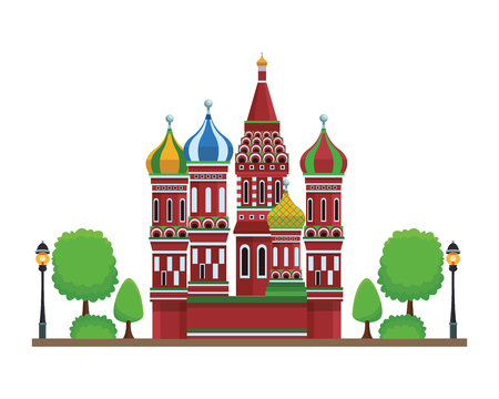 St. basil's cathedral with trees in white background vector illustration graphic design Illustration