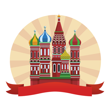St. basil's cathedral round icon vector illustration graphic design