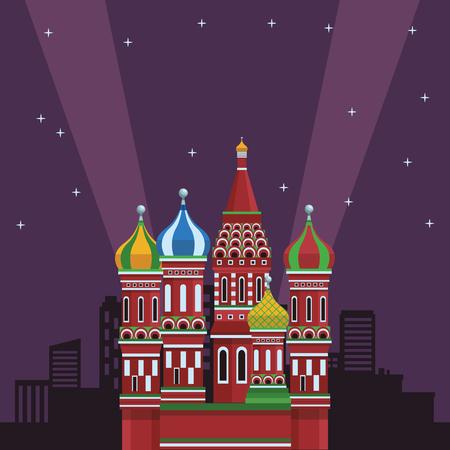 St. basil's cathedral at night vector illustration graphic design Illustration
