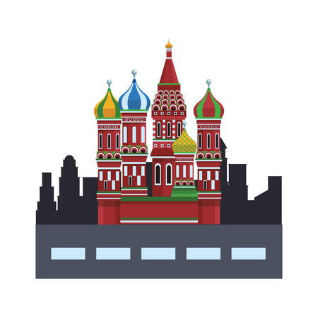 St. basil's cathedral with street and city shape vector illustration graphic design