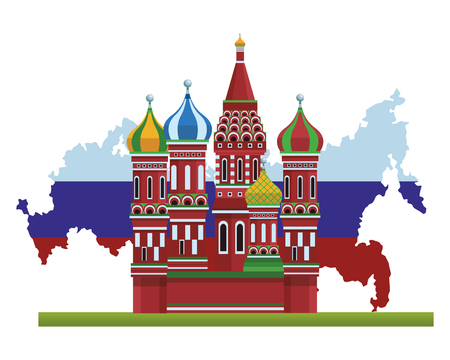 St. basil's cathedral with russian map and flag vector illustration graphic design Illustration